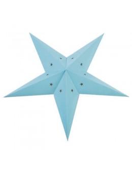 Lanterne étoile papier bleu pale