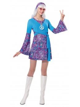 Déguisement robe hippie bleu