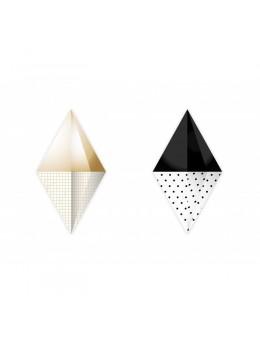 Guirlandes papier diamant 3D noir,or et blanc