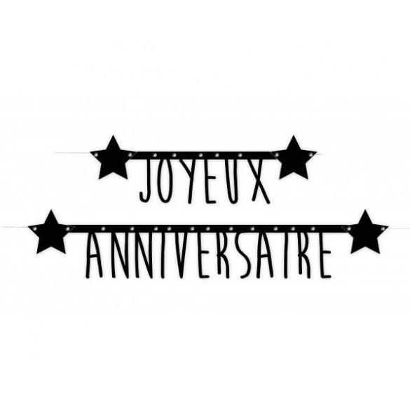 Guirlande Inscription Joyeux Anniversaire Pour Une Soirée à Thème Noir Et Blanc