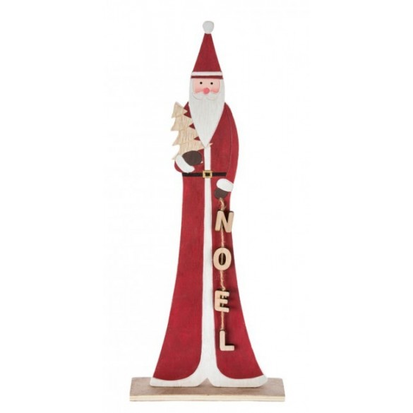 Déco Père Noël Bois sur socle 23.5cm