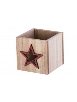 Photophore carré bois naturel étoile