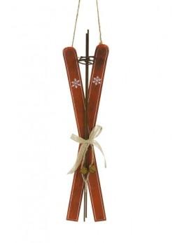Paire de skis bois rouge à suspendre