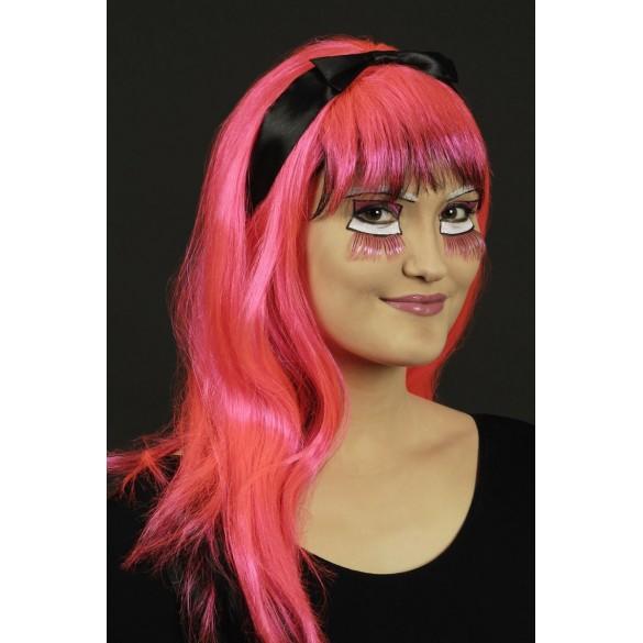 Perruque manga fluo rose et noir pas cher
