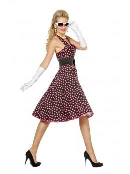 Déguisement robe rock'n'roll noire et rose