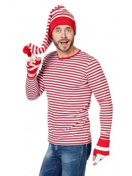 Tshirt manche longue rayé rouge et blanc