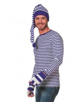 Tshirt manche longue rayé bleu et blanc