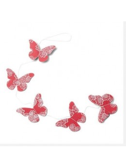 Guirlande papillons lin corail
