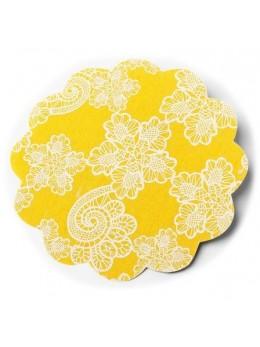 6 Napperons en lin gypsy 15cm jaune