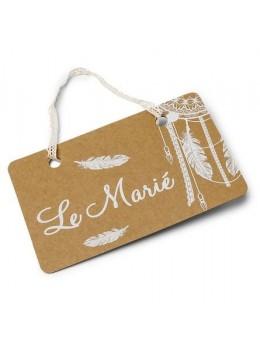"""Pancartes """"Le marié"""" et """"La mariée"""" boho 20X13cm"""