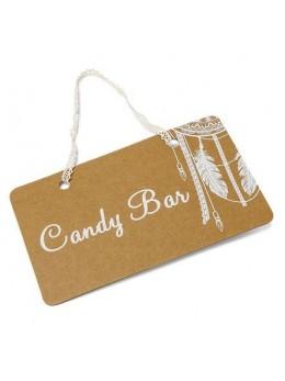 "Pancarte ""Candy bar"" boho 25X15.5cm"