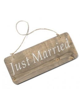 Pancarte bois Just married 25x10cm