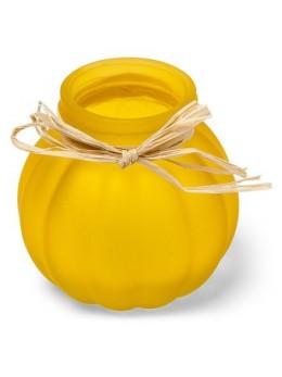 Vase bucolique jaune 8cm avec raphia