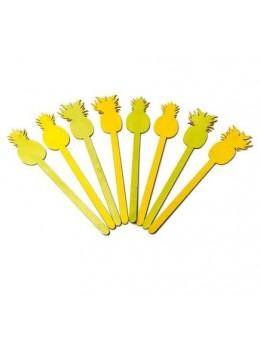 8 agitateurs ananas jaune et vert 23cm