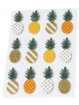 12 stickers ananas 4.5cm