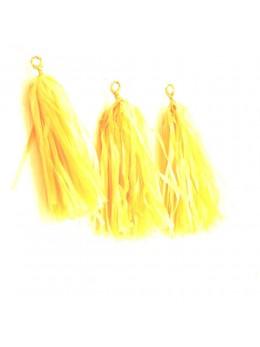 6 Tassels 35cm jaune