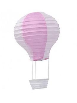 Montgolfière rose et blanche 13cmx22cm