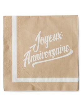 20 serviettes anniversaire kraft imprimé blanc