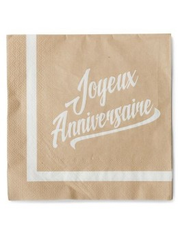 20 serviettes kraft joyeux anniversaire