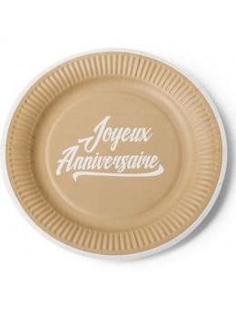 25 cakes cup anniversaire kraft imprimé blanc