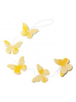 Guirlande papillons lin jaune