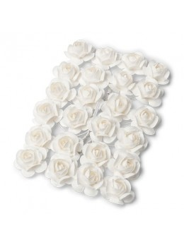 24 Roses blanches 1,3cm