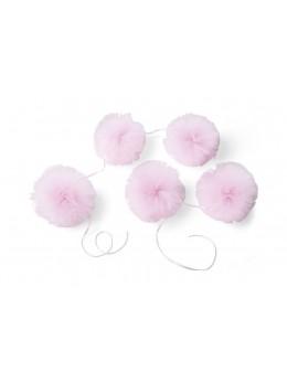 Guirlande 5 pompons tulle rose 1,5M