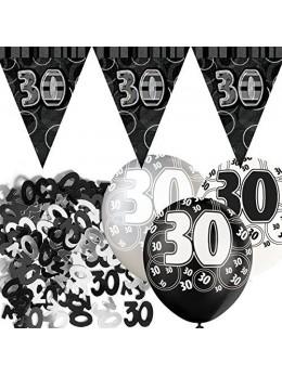 Kit anniversaire noir et argent 30 ans