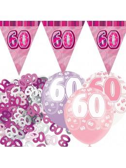 Kit anniversaire fuchsia 60 ans