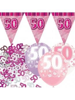 Kit anniversaire fuchsia 50 ans