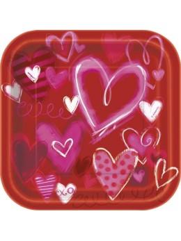 10 assiettes coeurs saint valentin