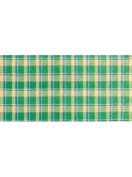 Chemin de table en lin madras vert 28cmx5m