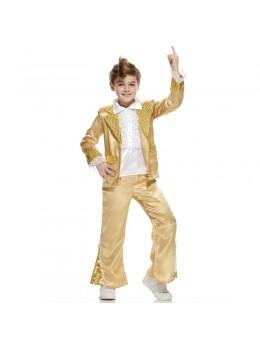 Déguisement disco king enfant or