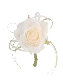Décoration rose vintage 19cm ivoire
