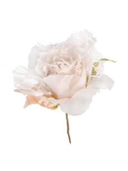 Décoration fleur dentelle 19cm ivoire
