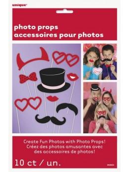 Kit 10 accessoires Photobooth Saint Valentin