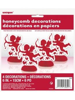 4 mini décoration papier Cupidon