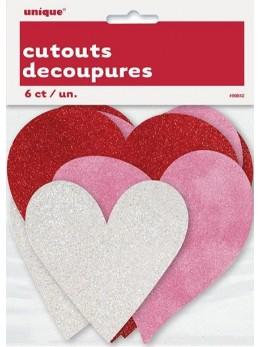 6 Mini décos coeur glitter