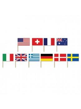 30 mini drapeaux pays assortis