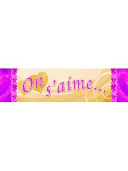 """Bannière """"On s'aime"""" ivoire et fuchsia"""