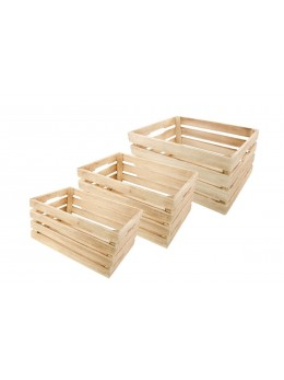 Lot de 3 cagettes bois naturel