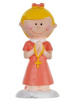 Figurine communiante fille corail
