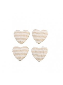 6 Confetti cœur lin rayé blanc