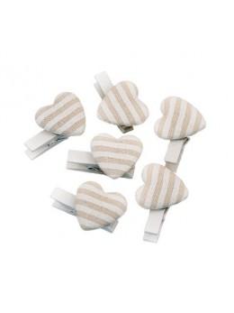 6 pinces cœurs lin rayé blanc