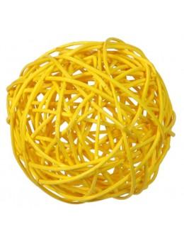 10 boules rotin jaune