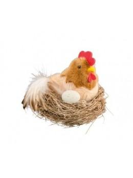 Poule dans nid 9cm