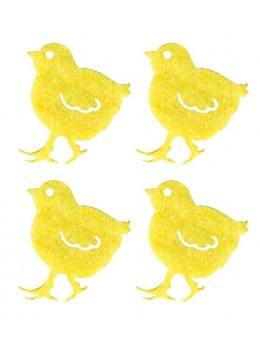 12 poussins jaune feutrine