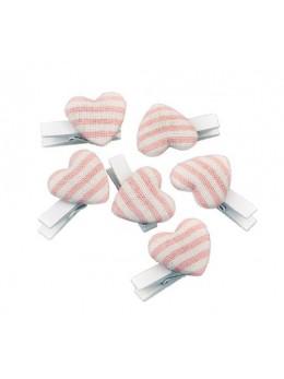 6 pinces cœurs lin rayé rose pastel