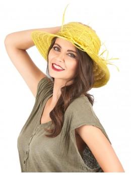 Chapeau de paille vintage jaune femme