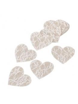12 confetti coeur dentelle